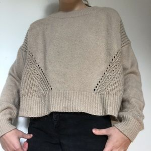 Super Cozy Tan Aeropostale Detailed Crop Sweater